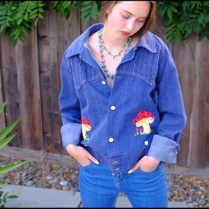 70s Vintage Denim Jacket, one of a kind embroidery